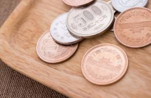 トレーの上の小銭