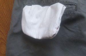 ズボンのポケットの中のホコリ