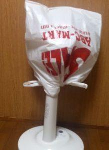 ビニール袋をかぶせた扇風機