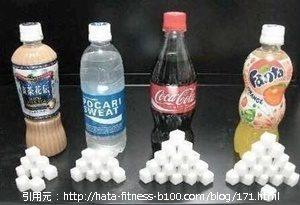 様々なジュースの糖分