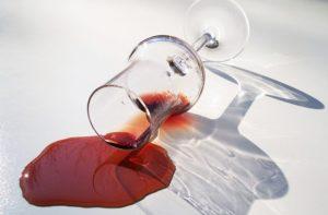 ワインをこぼしたところ