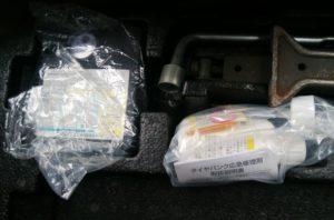 車に備え付けられているタイヤのパンク修理材